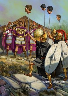 Thracians before King Perseus of Macedon (the last Antigonid king) during the Third Macedonian War. The heads are Romans. Ancient Rome, Ancient Greece, Ancient History, Punic Wars, Hellenistic Period, Greek Warrior, Classical Antiquity, Roman History, Historical Art