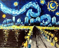 "Had the best time making this picture, ""Starry Night in St. Pete"" at Painting with a Twist."