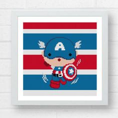 Cute Captain America Cross Stitch by Crossstitchfactory on Etsy