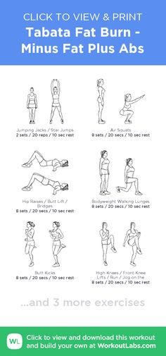 Tabata Fat Burn - Minus Fat Plus Abs – click to view and print this illustrated exercise plan created with #WorkoutLabsFit
