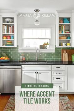 Most of the time, what we see day-to-day is just bad, trendy tile that often dates in approximately 10 minutes. But a solid colour that relates to other finishes in the kitchen can also work. Apartment Kitchen, Kitchen Interior, New Kitchen, Kitchen Design, Kitchen Tile Designs, Bungalow Kitchen, Stylish Kitchen, Interior Modern, Green Tile Backsplash