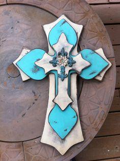 Large Shabby Chic Turquoise Wood Cross