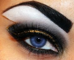 X-Men inspired makeup. Xmen Storm eye shadow. This would look better if the gold edge formed a lightning bolt that came down past the eye