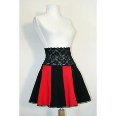Black and Red Lace Waist Circle Skirt high-waisted size XS S M L XL 2XL 3xl plus size mini stretch cotton spandex flared ruffled cosplay