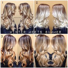 Winter meets summer. Keeping the base darker and adding lightness and dimension to the hair. Which ones your favorite and how light would you go? #HairByLarisaLove #ThrowBack #Padgram