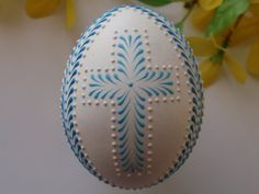 Easter Eggs Set of 3 Decorated Green Chicken Eggs Wax by EggstrArt