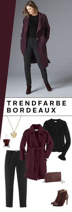 Die Farbe Bordeaux ist eine wunderbare Möglichkeit, die bunte Jahreszeit in deinem Outfit aufzugreifen. Das findet auch Stardesigner Guido Maria Kretschmer und bietet dir mit dem Wollmantel, dem Strickpullover mit Rüschen und der Anzughose eine herrliche Herbst-Kombination!