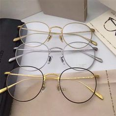 Glasses Frames For Girl, Thin Frame Glasses, Round Metal Glasses, Womens White Jeans, Glasses Trends, Fashion Eye Glasses, Womens Glasses, Eyeglasses, Bag Accessories