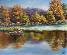 Great Falls Autumn, oil on panel
