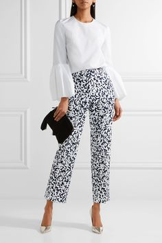 Oscar de la Renta | Cropped printed stretch-canvas straight-leg pants | NET-A-PORTER.COM