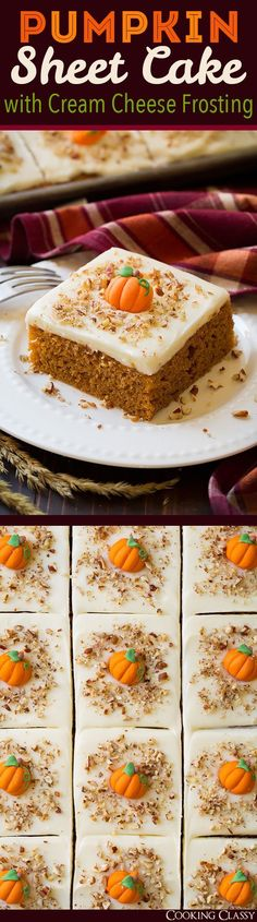 Pumpkin Sheet Cake with Cream Cheese Frosting - a cookie sheet full of pumpkin cake?? Yes please! This is one of the best pumpkin cakes you'll ever eat!! #PumpkinCakeRecipe