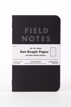 "Field Notes pitch black dot graph paper features French 100-lb ""Blacktop"" covers with ""Stealth Gray"" text. Inside is 50-lb Finch Opaque Smooth text paper, with a light-gray dot-graph. It's bound with"