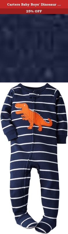 Carters Baby Boys Dinosaur Cotton Sleeper (12 Months). ROAR! Hell have prehistoric dreams in these super soft and snug cotton PJs.