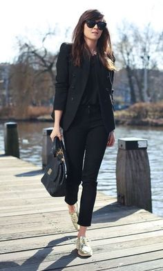 Summer Black Source by insidecloset shoes outfit Summer Work Outfits, Casual Work Outfits, Blazer Outfits, Mode Outfits, Work Casual, Classy Outfits, Casual Chic, Fashion Outfits, All Black Outfit For Work