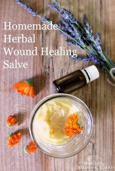 Natural Homemade Wound Healing Salve Recipe, 1 oz beeswax, 2 ounces herbal infused olive oil (calendula,)1 oz. coconut oil, 15 drops tea tree essential oil -antimicrobial, 15 drops geranium essential oil – antiseptic, wound healing,inhibits the inflammatory responses in the skin, 15 drops frankincense essential oil -anti-inflammatory, skin cancer treatment aid, healing aid, 15 drops lavender essential oil – antioxidant, antimicr