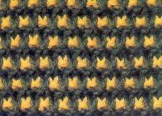 Point de tricot bicolore R. 1 et 5 : Foncé à l'endroit. R.2 et 6 : Foncé, à l'endroit. R.4 : Clair *1 m. end., fil devant, 1 m. glissée env., fil derr...