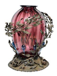 """Raro e antigo vaso gomado art nouveau em vidro moldado de """"Murano"""" na cor ametista arrematad"""