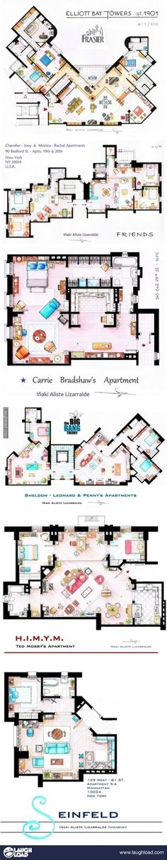 an artist painted detailed accurate floor plans of famous sitcoms.