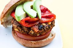 A healthier / veggie burger made with sweet potatoes and black beans