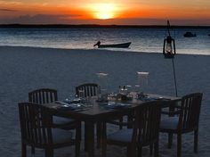 Our private beach dinner on Mnemba Island, Tanzania