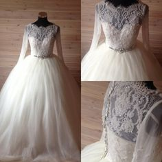 Wedding Dress,Cheap Long Sleeves Wedding Dresses,Button Back Lace