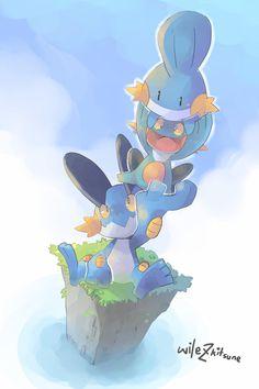 Up high! by Wile-Z-Kitsune.deviantart.com on @DeviantArt (Swampert, Marshtomp and Mudkip)