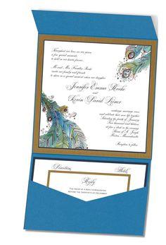 Watercolor Peacock pocket fold wedding invitation