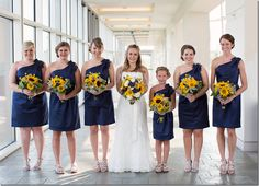 the navy blue I was planning on, but I never thought about sunflowers.... this might be a game changer bouquet wise!.