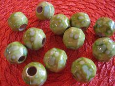 12  Vintage Ceramic Macrame Beads Sea Foam Green Splatter