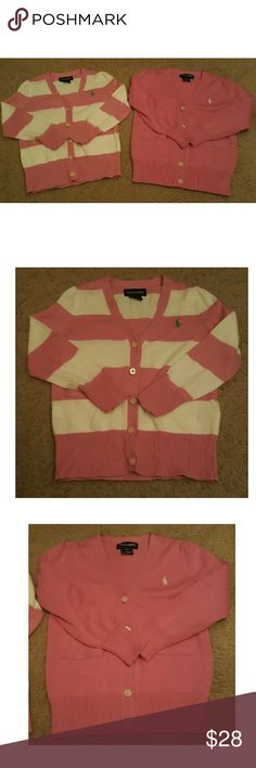 Ralph Lauren Cardigans 2 cardigans. Size 4t. Like new condition. Pink & white stripe,  & solid pink Ralph Lauren Shirts & Tops