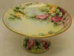 RARE Limoges Hand Painted Dresser Tray Compote Roses Lovely