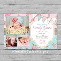 Shabby Cottage Chic Baby Girl Birth Announcement Photo Card - Design 1 - DIY Custom Printable on Etsy, $10.00