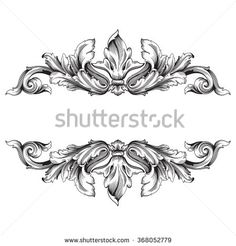 Vintage baroque frame scroll ornament engraving border floral retro pattern antique style acanthus foliage swirl decorative design element filigree vector | damask - stock vector