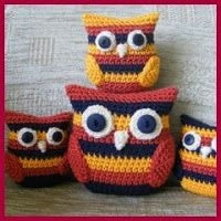 A little while ago I came across a delightful stripy cat crochet pattern - 'Caity Cat' by Janette Williams http:& Crochet Owl Pillows, Owl Crochet Patterns, Animal Knitting Patterns, Crochet Owls, Crochet Teddy, Owl Patterns, Amigurumi Patterns, Crochet Animals, Free Crochet