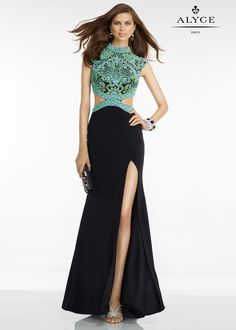 Alyce 6523 Black Multi Sexy Beaded Cut Out Evening Gown