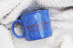 Please read description before purchasing! DETAILS:_________________________+ Holds 15 oz.+ Heavy duty blue speckled ceramic camp mug+ The wording on this mug is hand-lettered and PRINTED incopper ink on both sides of the mug. CARE INSTRUCTIONS:_________________________+ Gentle hand washing is recommendedto prolong t