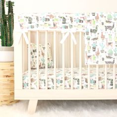 llama crib rail guard with llama crib bedding