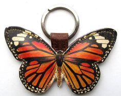 Lederen sleutelhanger butterfly, butterfly keyring, butterfly bag charm - Monarchvlinders