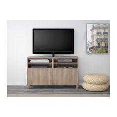 BESTÅ TV unit with doors - 120x40x74 cm, Lappviken walnut effect light gray - IKEA