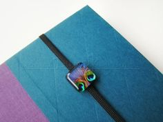 Original Handcrafted Bookmark - E-Reader or Tablet Cover Decoration - Peacock Feathers Gem