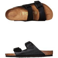 Birkenstock Mens Arizona Sandal Black (305 BRL) ❤ liked on Polyvore featuring shoes, sandals, flats, black, sapatos, footwear, fashion sandals, womens footwear, arch support sandals and black sandals