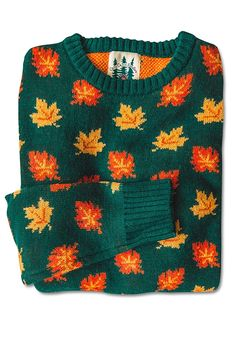 The Big Cozy Fall Leaf Sweater – Kiel James Patrick Look Fashion, Autumn Fashion, Look Retro, Cozy Sweaters, Vintage Sweaters, Mode Style, Look Cool, Sweater Weather, Aesthetic Clothes