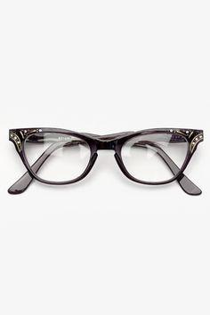 Transparent Rhinestone 'Betty Jo' Cat Eye Clear Glasses - Periwinkle - 3036-4