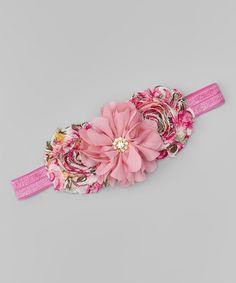 Love this Mauve & Pink Flower & Rhinestone Headband on #zulily! #zulilyfinds