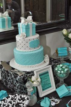 Tiffany OFF! Tiffany Inspired Birthday Party by Sweet Little Party Company Tiffany Blue Party, Tiffany Birthday Party, Tiffany Theme, Tiffany Wedding, 50th Birthday Party, Tiffany Blue Weddings, Tiffany Sweet 16, Wife Birthday, Birthday Gifts