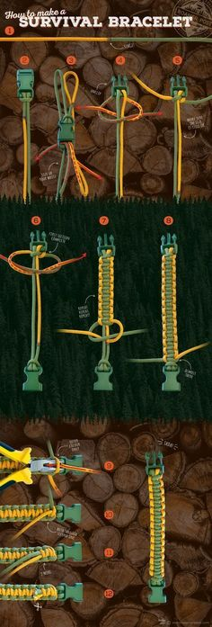 Paracord Project: An infographic tutorial on how to make a survival bracelet. - NickIngram - Paracord Project: An infographic tutorial on how to make a survival bracelet. Paracord Project: An infographic tutorial on how to make a survival bracelet. Camping Survival, Survival Tips, Survival Skills, Diy Camping, Survival Books, Winter Survival, Survival Shelter, Survival Quotes, Homestead Survival