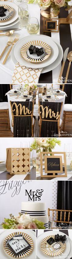 Gold, Black & White is a timeless, elegant color scheme that is sure to bring a touch of glamour and sophistication to your wedding day.  Shop our full Kate Aspen classic gold collection today.