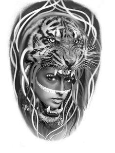 Tiger Head Tattoo, Tiger Tattoo Design, Girl Face Tattoo, Head Tattoos, Girl Tattoos, Tattoo Studio, Female Lion Tattoo, Elefante Tattoo, Tiger Sketch