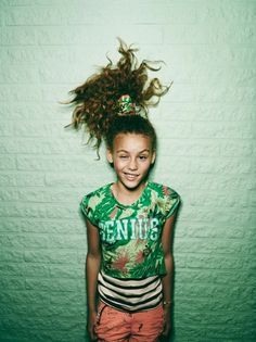 Overprinted T-Shirt and tropical themed pineapple hair, genius, from Scotch R'Belle at Scotch and Soda kidswear for spring 2014