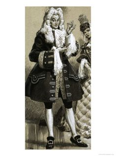 The fit of men's breeches was baggy and loose but cut much straighter and less full than a decade earlier. Most were commonly knee-length although other trimmings added length so that the breeches extended to mid-calf. They were attached to the doublet with hooks and eyelets.   http://www.allposters.co.uk/-sp/Men-s-Fashion-17th-Century-Posters_i4033069_.htm